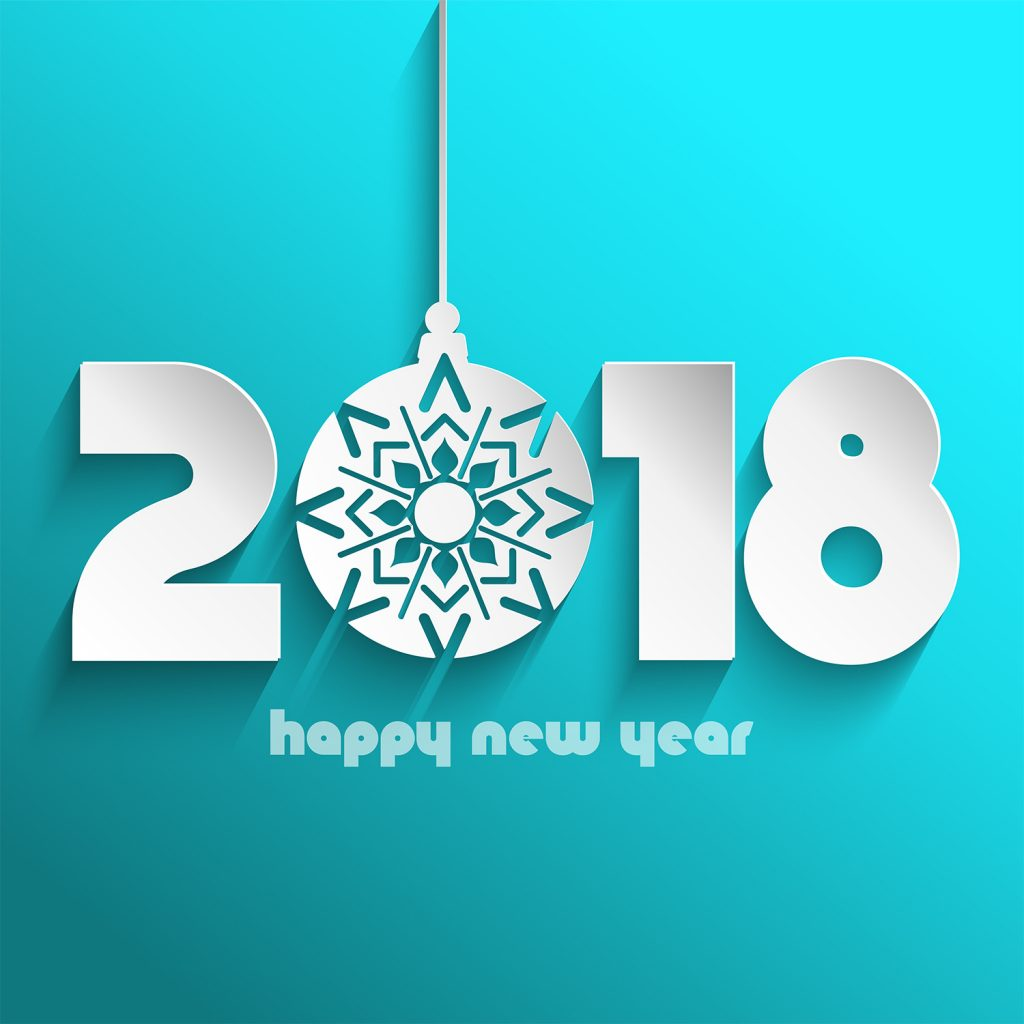 happy new year background with decorative hanging bauble
