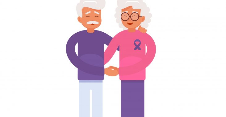 An elderly man and his wife with Alzheimer's disease support each other. Vector illustration of the World Alzheimer's month